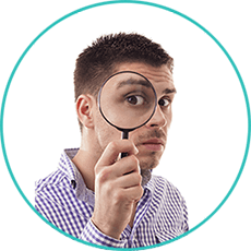 dentist scottsdale - Man with magnifying glass to eye